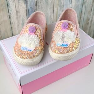 Cupcake sparkle slip on Easter shoes